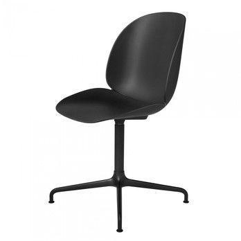 Gubi - Beetle Dining Chair Drehstuhl Kreuzgestell Schwarz - schwarz/BxHxT 50x87x58cm/Gestell schwarz