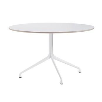 HAY - About a Table AAT20 Esstisch rund Ø110cm - weiß/Tischplatte Laminat/Kante holzfarben/3 Beine