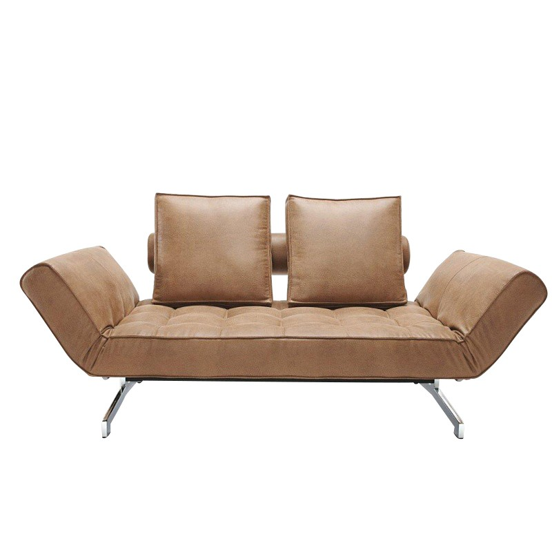 Ghia Sofa Bed Artificial Leather Legs Chromed Steel 180x90cm