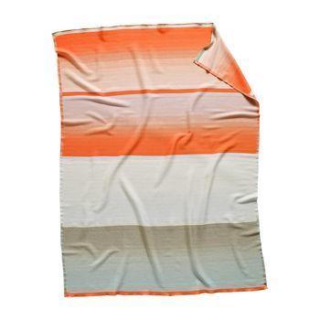 - Colour Plaid No. 9 Tagesdecke - orange/weiß/grau/Merino Wolle/180x140cm