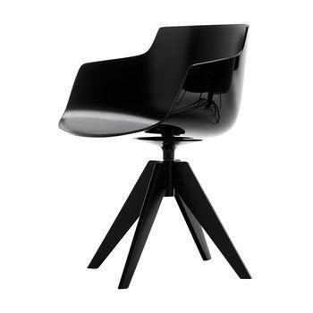 MDF Italia - Flow Slim Armlehnstuhl New Edition Gestell Stahl - schwarz/Gestell Stahl matt graphitgrau