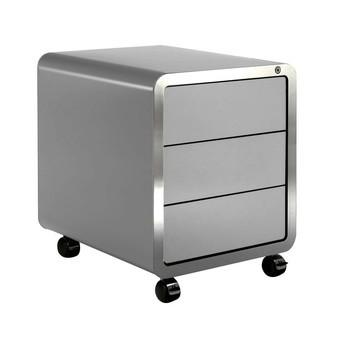 müller möbelfabrikation - Highline R20 Rollcontainer - signalweiß RAL 9003/seidenmatt/mit 3 Schubladen/Zentralverriegelung/Edelstahlkante/46x56.5x54cm
