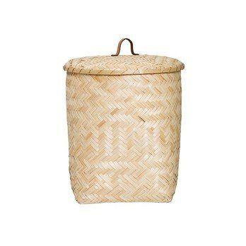 Bloomingville - Bamboo Aufbewahrungskorb - natur/mit Deckel/H 55cm/Ø 41cm