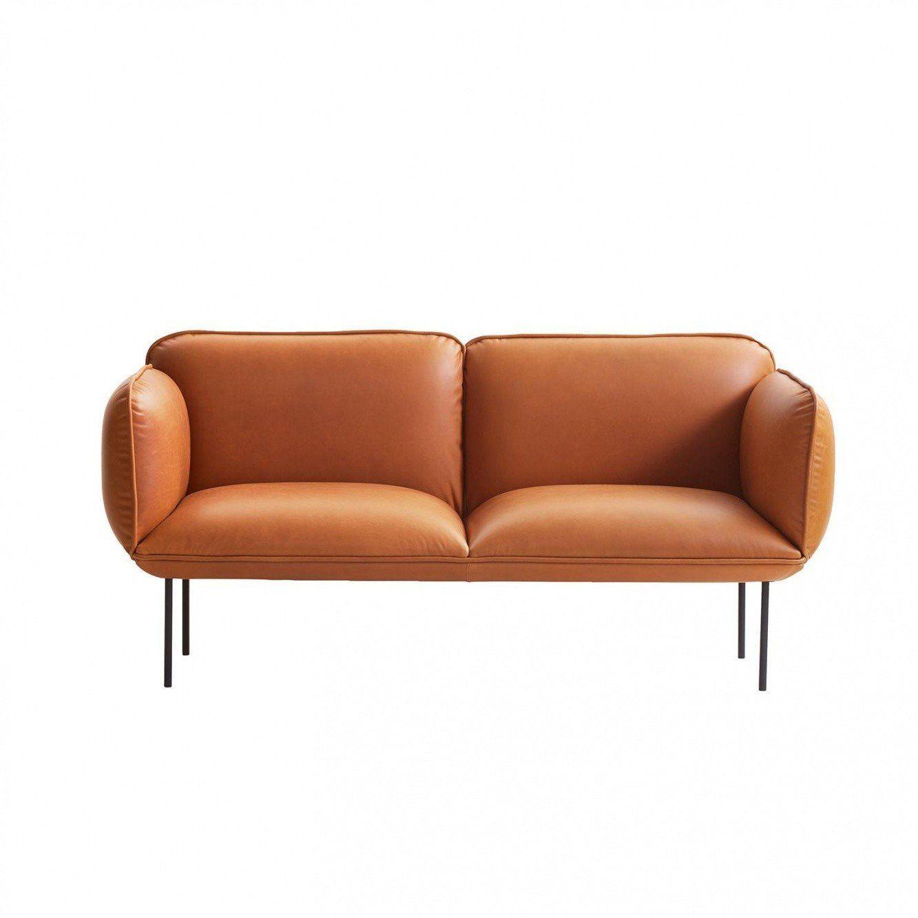 Beau Woud   Nakki 2 Seater Leather Sofa   Light ...