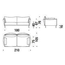 - Gentry 2-Sitzer Sofa 210x105cm  Ausstellungsstück