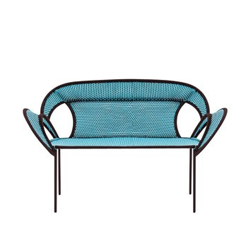 Moroso - Banjooli 2-Sitzer Sofa - türkis/oxid/handgeflochten/Fußgleiter aus PVC/143x88x72cm/Gestell Stahl lackiert