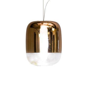 - Gong LED S1 Pendelleuchte - kupfer/metallisiert/H 21cm, Ø 18cm/Struktur Chrom/3000K/720lm