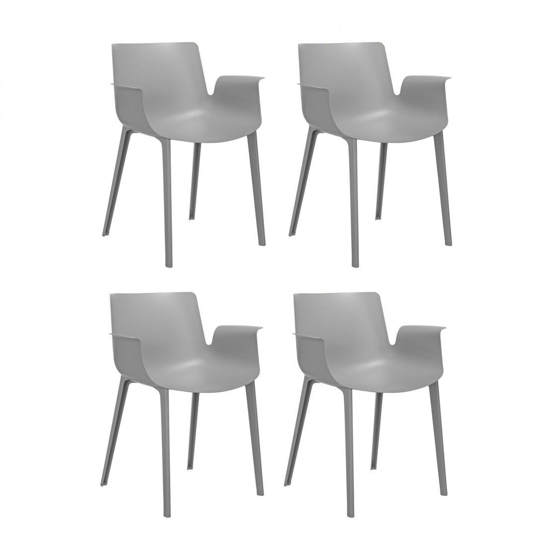 Piuma set de 4 sillas con reposabrazos kartell for Sillas con reposabrazos