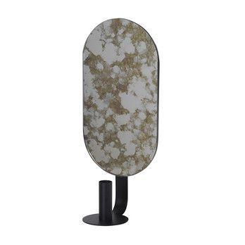 - ferm LIVING Coupled Kerzenhalter 3280 - moosgrün/schwarz/oval/Gestell Metall pulverbeschichtet/LxBxH 16x10.5x37cm