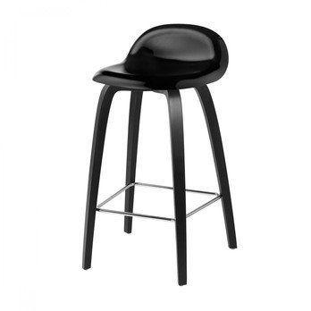 Gubi - Gubi 3D Counter Stool Barhocker mit Buchengestell - schwarz/Sitzfläche Buche/BxHxT 44x78x41cm/Gestell schwarze Buche