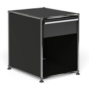 USM Haller - USM Nachttisch mit Schublade - graphitschwarz RAL 9011/41.8 x 54 x 52.3 cm/1 offenes Fach
