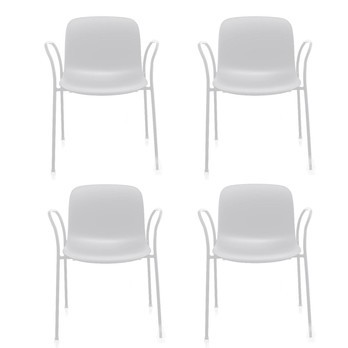 Magis - Magis Troy Armlehnstuhl Outdoor 4er Set - weiß/Gestell weiß/4 Stühle