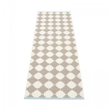 pappelina - Marre Teppich 70x225cm - schlamm/vanille/turquoise stripe/wendbar