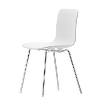Vitra - Hal Tube Stuhl Gestell verchromt - weiß/Gestell chrom/nicht stapelbar/mit Filzgleitern
