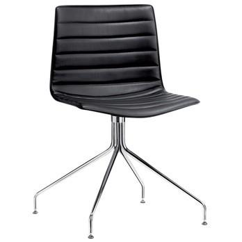 Arper - Catifa 46 0259 Leder Stuhl mit Sternfuß - schwarz/Kunstleder/H x B x T: 79 x 69 x 69cm/Gestell chrom