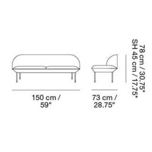 Muuto - Oslo 2-Sitzer Sofa - Strichzeichnung