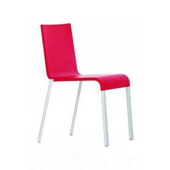 Vitra - .03 Stuhl stapelbar - signal rot/Gestell silberfarben pulverbeschichtet