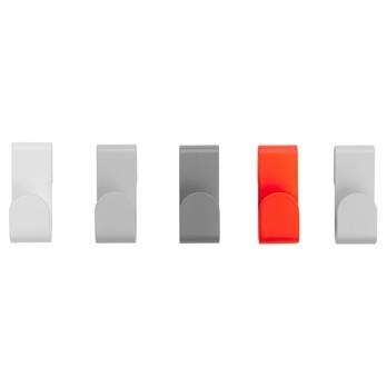 Schönbuch - Flare Haken Set 2 - leuchtrot, grau, weiß/leuchtrot Pantone 806M/RAL 9010/RAL 9018/RAL 7042/RAL 7047/Set aus 5 Wandhaken