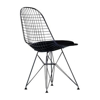 Vitra - Eames Wire Chair DKR-5 Stuhl H43cm - schwarz/basic dark schwarz/Stoff Hopsak 66/mit Filzgleitern in basic dark schwarz/neue Höhe/für Innen- und Außenbereich