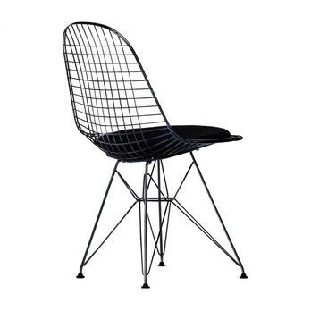 - Eames Wire Chair DKR-5 Stuhl H43cm - schwarz/basic dark schwarz/Stoff Hopsak 66/mit Filzgleitern in basic dark schwarz/neue Höhe/für Innen- und Außenbereich