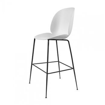 Gubi - Beetle Bar Chair Barhocker Schwarz 118cm - weiß/Sitz Polypropylen-Kunststoff/BxHxT 56x118x58cm/Gestell schwarz