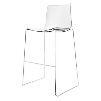 Arper - Catifa 46 0471 Barhocker zweifarbig Chrom - weiß/schwarz/Außenschale glänzend/innen matt/Gestell verchromt/Sitzhöhe 76cm