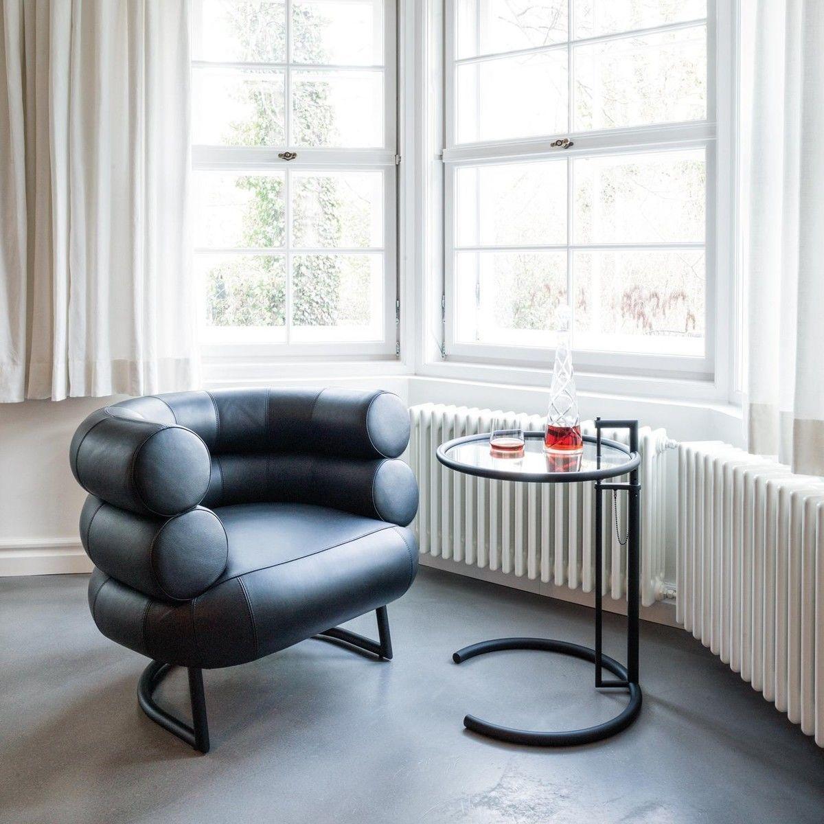Adjustable table e 1027 beistelltisch schwarz classicon for Beistelltisch klassiker