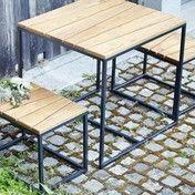 Jan Kurtz - Alois Mini Gartenmöbel-Set - robinie/Gestell anthrazit pulverbeschichtet/1 Tisch + 2 Bänke