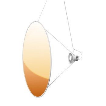 Luceplan - Amisol LED Pendelleuchte - gold/Push/Dimmer DALI/3000K/Gestell hellgrau/Ø110cm