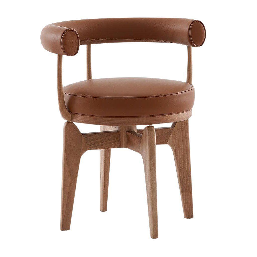 Cassina   Indochine Swivel Chair   Hazelnut Brown/leather ...