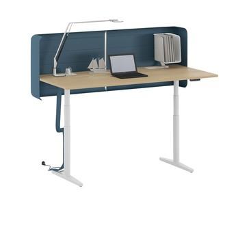 Vitra - Tyde höhenverstellbarer Schreibtisch 160x80cm - weiß/eiche/MDF/höhenverstellbar 65-125cm/ohne 3D Screen/ohne Organisationsbox