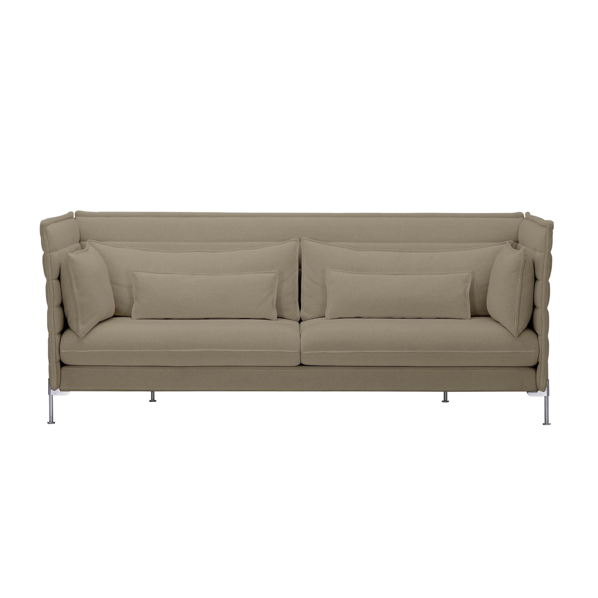 Vitra Alcove Bouroullec 3 Seater Sofa Warm Grey Frame Chrome Fabric