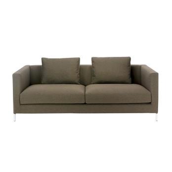 ADWOOD - Cube Sofa 3-Sitzer Couch 202x92cm - braun/Stoff Basic/inkl. 2 Rückenkissen