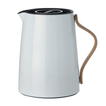 Stelton - Emma Tee-Isolierkanne 1,0L - blaugrau/buche/glänzend/mit Smart-Filtersystem