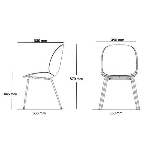 Gubi - Beetle Chair Samtpolster und Gestell Messing - Strichzeichnung