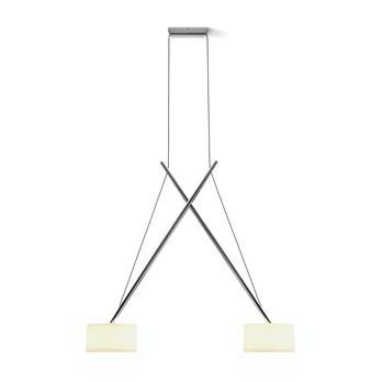 Serien - Twin LED Suspension Lamp - opal/aluminium chrome/glossy/2700K/2100lm/CRI>90/mouth blown glas shade