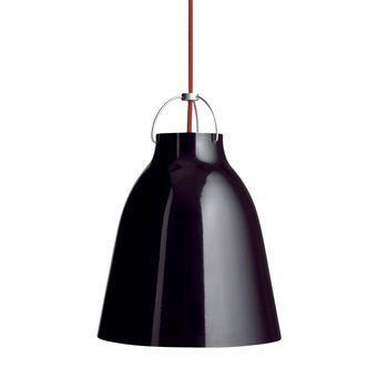 Lightyears - Caravaggio P0 Pendelleuchte - schwarz/glänzend/Kabel rot/Ø11cm