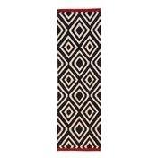 - Mélange Pattern 1 Kilim Wollteppich / Läufer - schwarz/weiß/rot/80x240cm