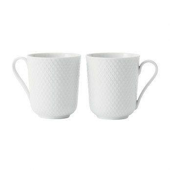 Lyngby Porcelæn - Rhombe Henkelbecher 2er Set - weiß/handgemachtes Porzellan/33cl