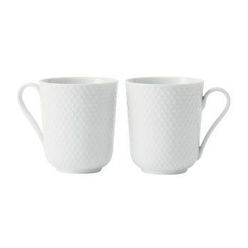 - Rhombe Henkelbecher 2er Set - weiß/handgemachtes Porzellan/33cl