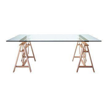 Magis - Teatro Esstisch - Tischplatte glas/Gestell 2 Böcke Birke höhenverstellbar max:95/L x B: 200x 90cm