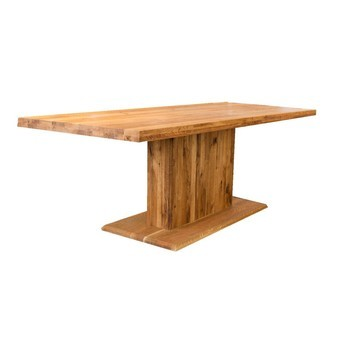 ADWOOD - Ozelot Massivholz Esstisch mit Mittelfuß - eiche gebürstet/geölt/ein Standblock/200x90 cm