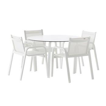 Gandia Blasco - Stack Gartenmöbel Set - weiß/HPL, Batyline/Tisch Ø 120cm/4 Stack Stühle