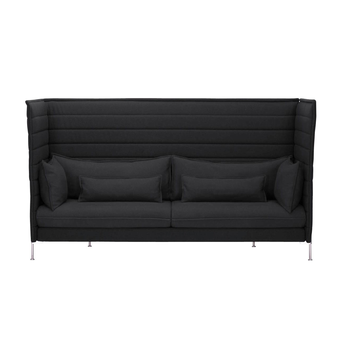 Vitra   Alcove Highback 3 Seater Sofa   Black/frame Chrome/fabric Laser