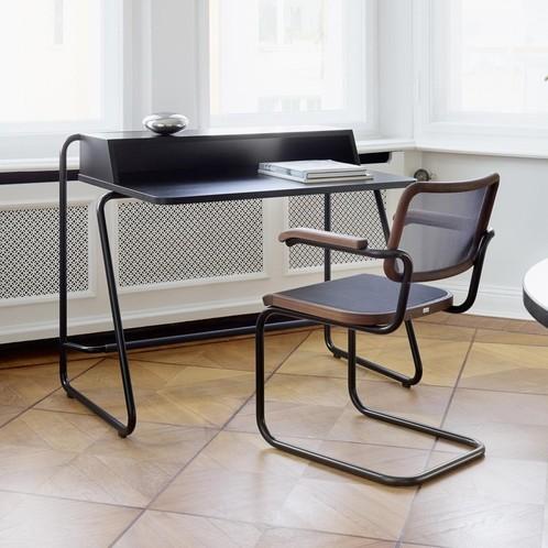 Thonet - S 1200 Classics in Colour Sekretär - schwarz/Aufsatz und Platte Buche gebeizt/Gestell Stahlrohr schwarz lackiert/110x67cm