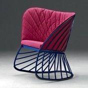 Molteni & C - Sol Schaukelstuhl - blau/pink/Kufe schwarz/inkl. Sitz- und Rückenkissen in pink/Stoff Andromeda A3564