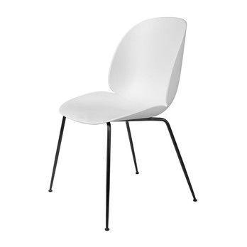Gubi - Beetle Dining Chair Stuhl Gestell Schwarz - weiß/BxHxT 56x87x58cm/Gestell schwarz