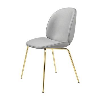 Gubi - Beetle Chair Stuhl mit Stoff und Gestell Messing - grau/Kvadrat Messenger 4-046/BxHxT 56x87x58cm/Biese Messenge 4-046/Gestell Messing