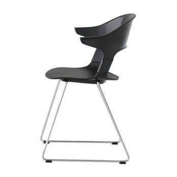 - Pair Chair BH31 Armlehnstuhl - schwarz/Sitzfläche Eiche schwarz/Gestell Chrom/58x69x52cm