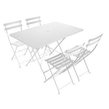 Fermob - Bistro Garten-Set 4 Stühle - baumwoll weiß/Tisch 117x77cm